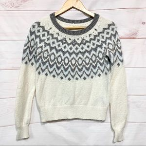 Hollister Blue White Gray Fair Isle Beaded Sweater